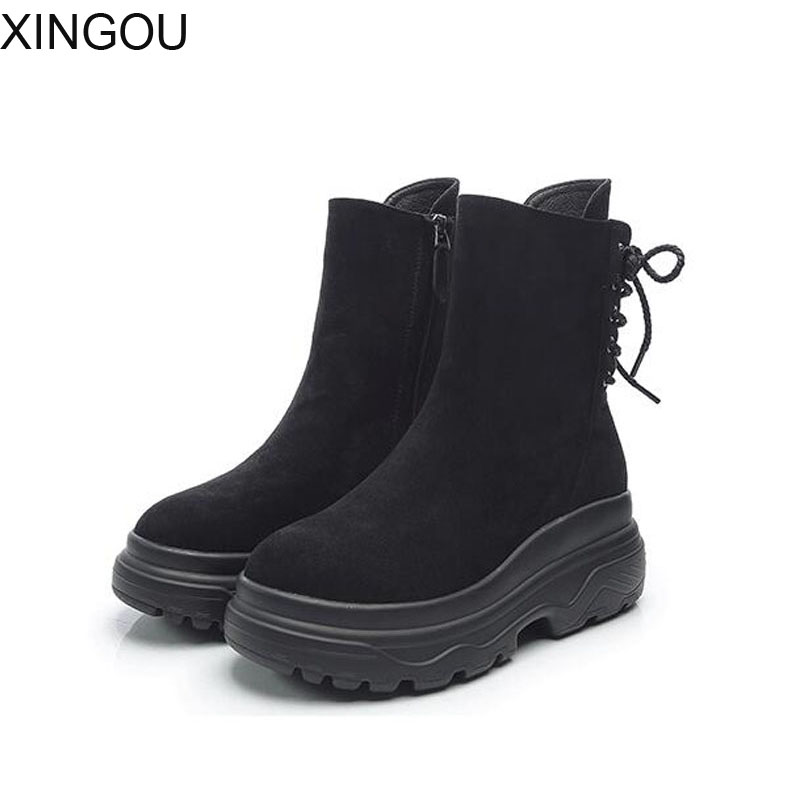 New XINGOU Kid Suede women boots Fashion 2018 Martin women's boots 6cm heel Ankle Boots Keep warm Short Plushfemale boots xiuningyan flat black ankle boots for women kid suede short boots women female fashion low heel hademade ladies booties 2018 new