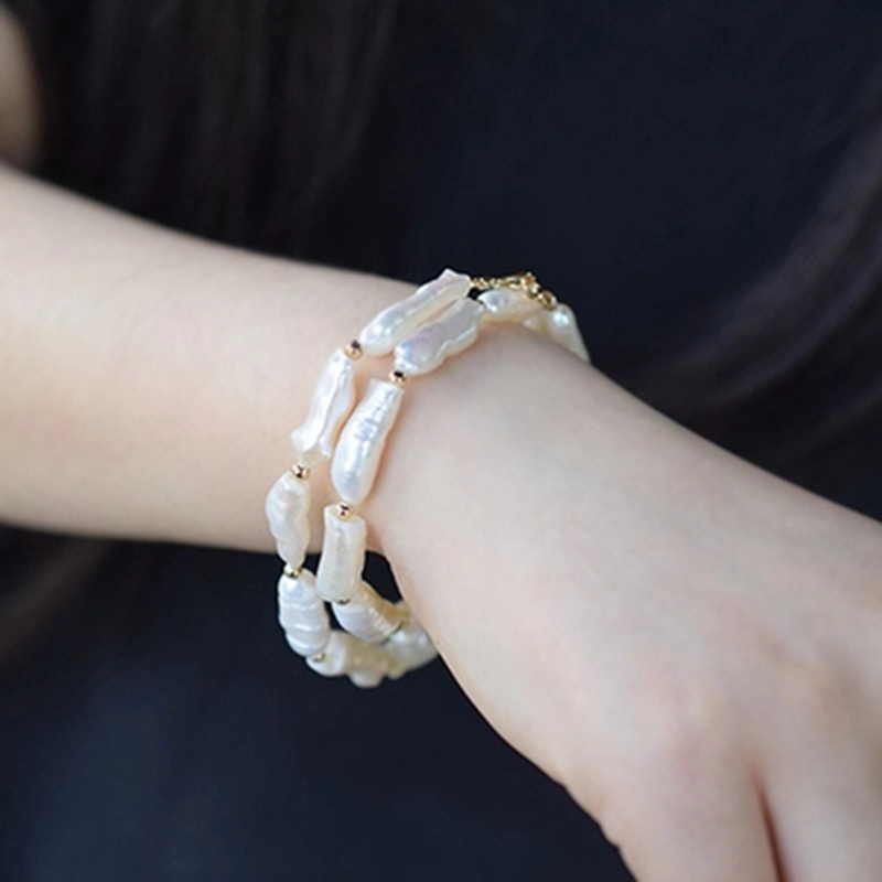 Lii Ji Gemstone White Baroque Pearl 925 Sterling silver Gold Color Lobster Clasp 2 rows Bracelet