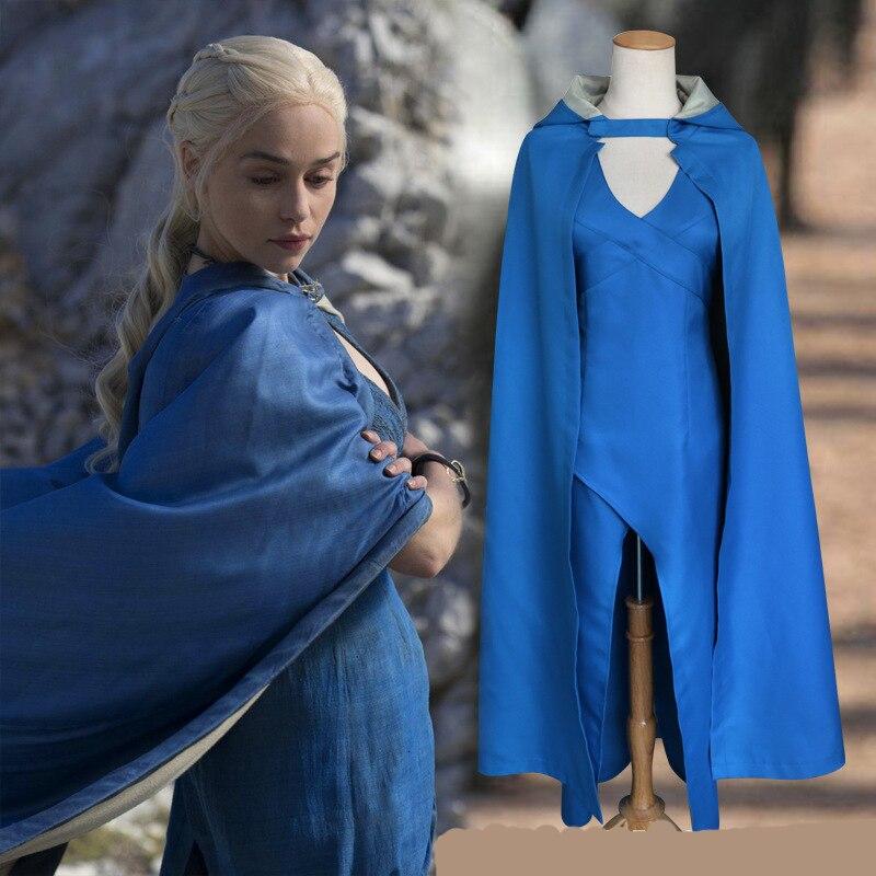 Daenerys Targaryen Cosplay Costume Daenerys Stormborn Cape Dress For Women Dany Halloween Costumes Hooded Cloak + Dress