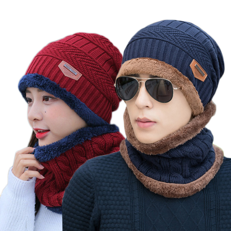 5e300c81d Winter Beanies balaclava Knit Neck Warmer Hats Men Women Beanies Fleece Wo  Liner Thick Hat Scarf Sets Skullies Bonnet Set