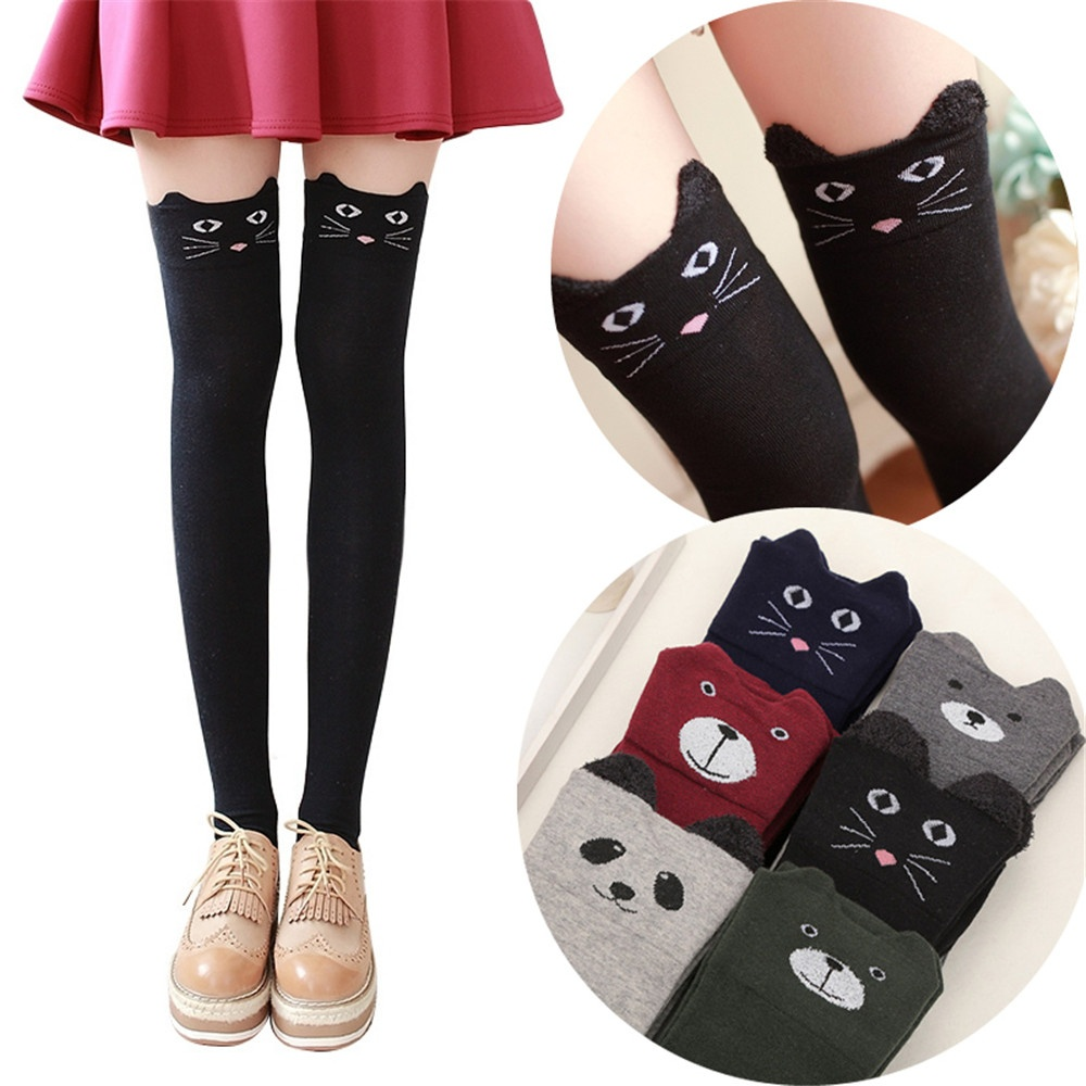 New Women Cotton Cartoon Bear Over Knee Sock Sexy Thigh High Stockings Autumn Winter Warm Socks Panda Cat Stockings
