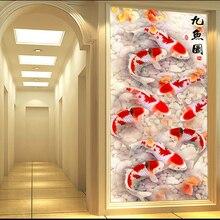 QIANZEHUI,DIY 5D 9 물고기 풍경 자수, 라운드 다이아몬드 전체 라인 석 다이아몬드 페인팅 크로스 스티치, 바느질 작업