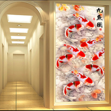 QIANZEHUI,DIY 5D תשע דגי נוף רקמת, עגול יהלומים מלא ריינסטון יהלומי ציור צלב תפר, רקמה