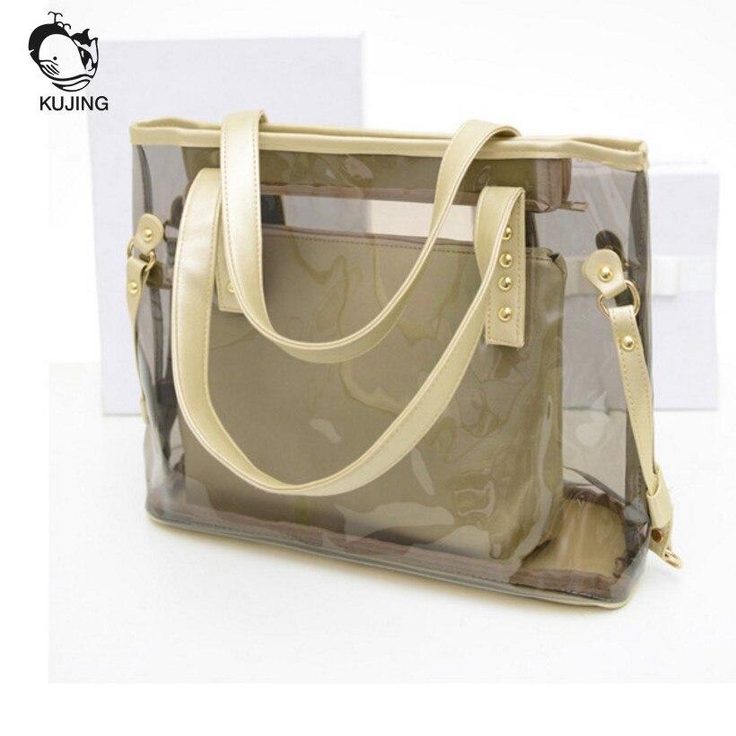f9b054f06a69 KUJING Brand Fashion Handbag Transparent Women Hand Shopping Bags Cheap  High Quality Women Shoulder Bag Travel ...