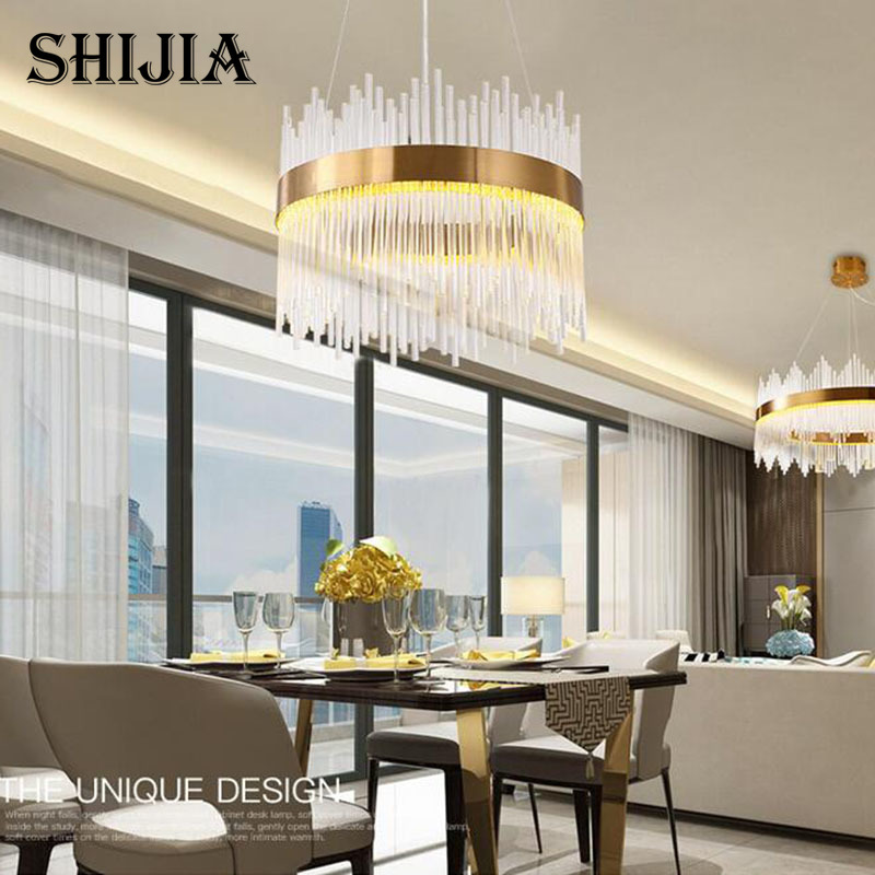 Modern chandelier LED crystal lighting AC110V 220V gold dining room living room pendant lampModern chandelier LED crystal lighting AC110V 220V gold dining room living room pendant lamp