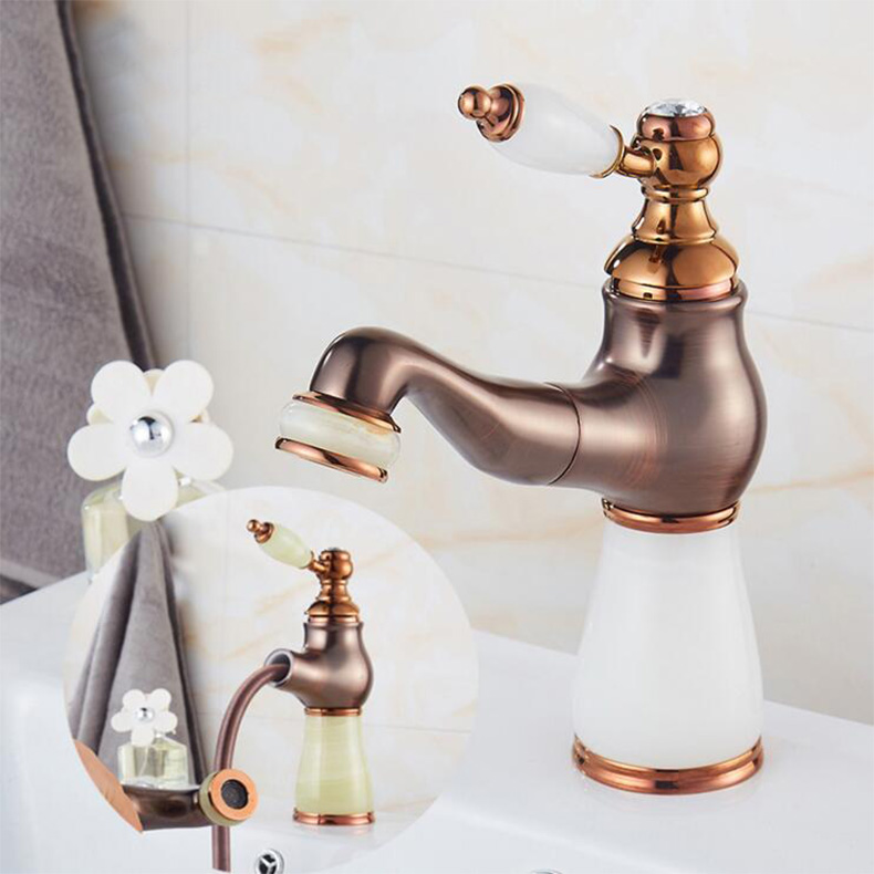 New jade and brass faucet Rome bronze bathroom basin faucet,Luxury sink tap mixer with pull out shower head pull-out water tap rose gold brass bathroom pull out sink faucet with natural jade marble basin mixer torneira single hole handle water tap