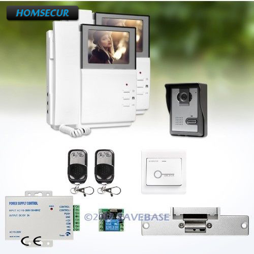 HOMSECUR 4.3 Wired Video Door Entry Call System Electric Strike Lock Set Included HOMSECUR 4.3 Wired Video Door Entry Call System Electric Strike Lock Set Included
