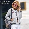 Veri Gude Striped Jacket Women Bomber Jacket Coat for Autumn Patch Design