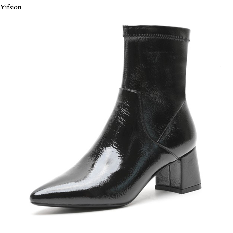 Yifsion Hot Women Shiny Leather Ankle Boots Comfort Square Med Heel Boots Pointed Toe Charm Black Party Shoes Women US Size 3-9Yifsion Hot Women Shiny Leather Ankle Boots Comfort Square Med Heel Boots Pointed Toe Charm Black Party Shoes Women US Size 3-9