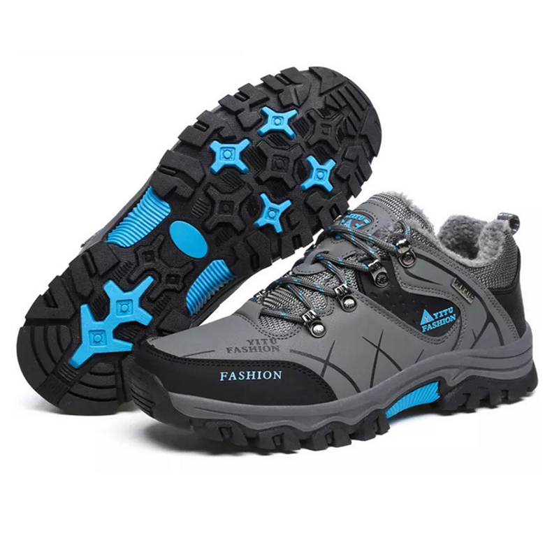 Plus size Style Men Winter Hiking Trekking Climb Waterproof Lace Up Sport Shoes Outdoor Camping Fur