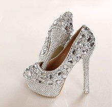 Luxury Fashion Silver High Heels Crystal Wedding Shoes Lady Glitter Bridal Dress Shoes Round Toe Full Grain Leather Shoes women