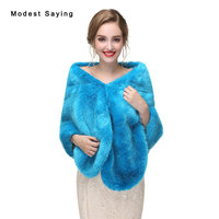 Elegant Blue Faux Fur Wedding Shawls 2017 Imitation Fox fur Bridal Wrap Warm Bolero for Evening Dress Winter Wedding Accessories