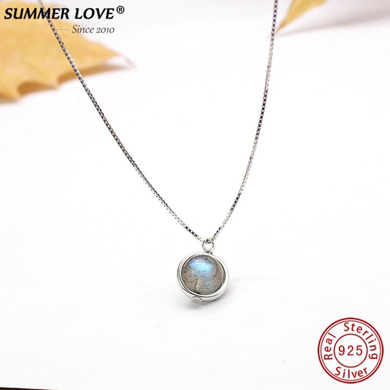Echtes S925 Sterling Silber Labradorit Anhänger Halskette Für Frauen Edlen Schmuck Natur Stein Handmade bijoux femme