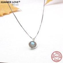 Colar de prata, pingente de labradorite s925 genuíno, colar para mulheres com pedra da natureza, joia feita à mão