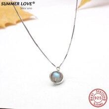 Натуральная S925 серебро лабрадорит кулон Цепочки и ожерелья для Для женщин Fine Jewelry природа камень бижутерия ручной работы femme