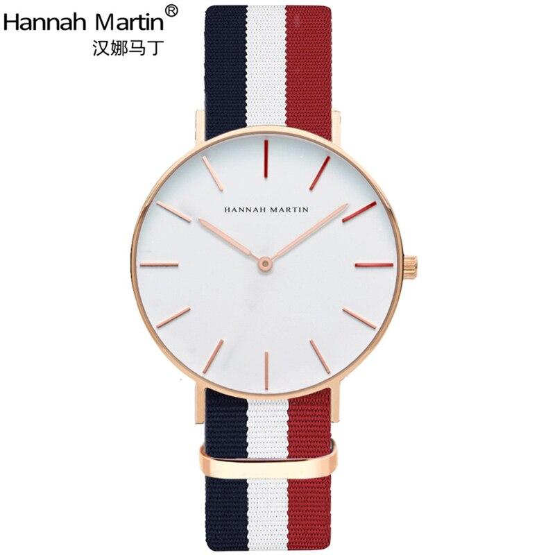 Hannah Martin Luxury Brand Watches Men Women Neutral Casual Fashion Clock Leather Nylon Quartz Horse Wrist watch relogio XF1007