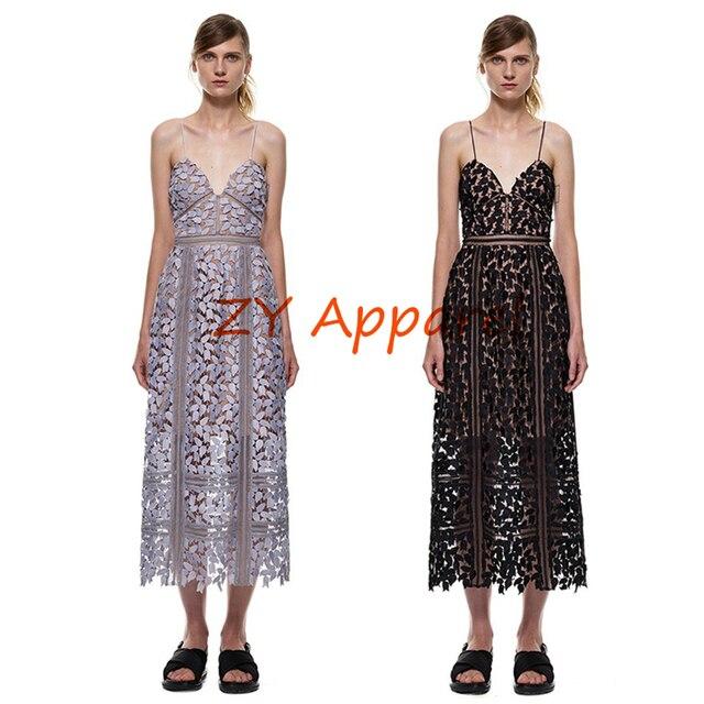 e686eddbaff8 Vestidos 2016 Hollow Out Runway self portrait Azaelea Midi Dress In  Textured In lace Strappy Strap