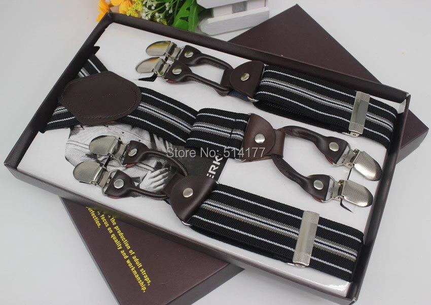 2016 Fashion leather Mens braces 6 clips elastic stripe adjustable suspenders GIft box adult braces Width 3.5cm Length:110cm