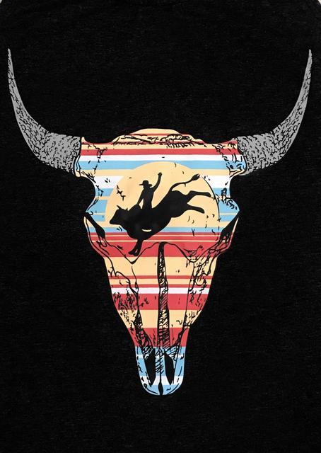 Black Steer Skull Bull Rider Graphic Tank Top