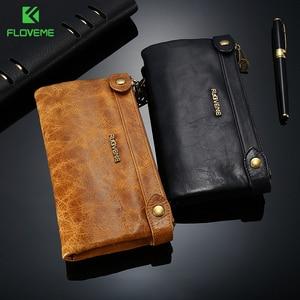 Image 1 - FLOVEME 5.5 بوصة Universale جلد طبيعي سستة محفظة حقيبة لهاتف أي فون X 8 8 زائد 7 7 زائد 6 6 ثانية 5 رجل إمرأة فتحة بطاقة الهاتف حقيبة