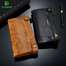 FLOVEME 5.5 inch Universale Genuine Leather Zipper Wallet Case For iPhone X 8 8Plus 7 7plus 6 6s 5 Man Women Card Slot Phone Bag
