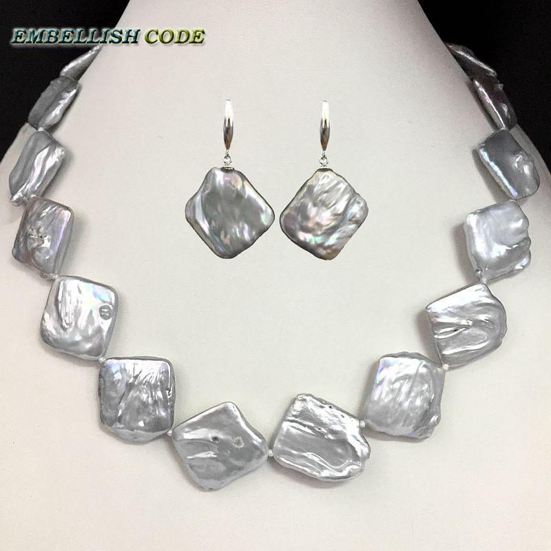 2018 new gray baroque keshi choker statement pearl necklace hook earring set flat block square shape