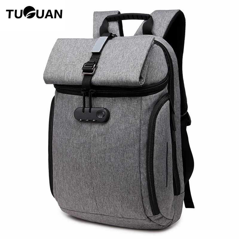 TUGUAN Fashion Men Anti Theft Password lock Backpack Reflective Back Pack Travel bagpack Laptop Bags for Male Notebook Bagpack for pc and mac nobletlocks ns20t xtrap notebook cable lock laptop lock 6feet