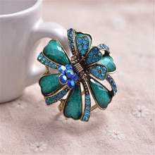 hot deal buy high quality ancient gold color metal big hair claws colorful resin rhinestone flowers hair clip crab women wedding hair jewelry