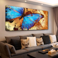 Modern Animal Posters Canvas Printings Big Blue Butterfly Wall Painting Framed Elephant Wolf Wall Picture for Home Decor 40X80CM