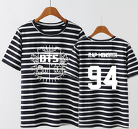 Kpop Children Bts Bangtan Member Name Stripes Print Shirt Size Girl Summer Short Sleeved T Shirt