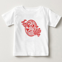 2018 the latest childrens paper cut T-shirt Chinese ethnic cutting printing boys and girls like style T-s