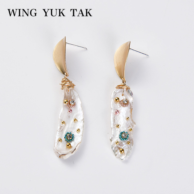 Wing Yuk Tak Handwork Freshwater Pearls Drop Earings Boho Geometric Colorful Crystal Earings For Women Gift 2019