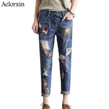 Aelorxin Vintage Flower Embroidery Jeans Female Pockets Straight Jeans Women Bottom Light Blue Casual Pants Capris Summer 2019