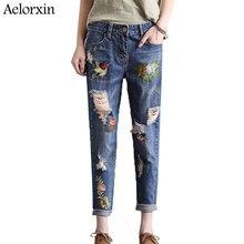Aelorxin w stylu Vintage kwiat hafty dżinsy kobiece kieszenie proste dżinsy kobiet dolnej części światła niebieskie na co dzień spodnie Capris lato 2019