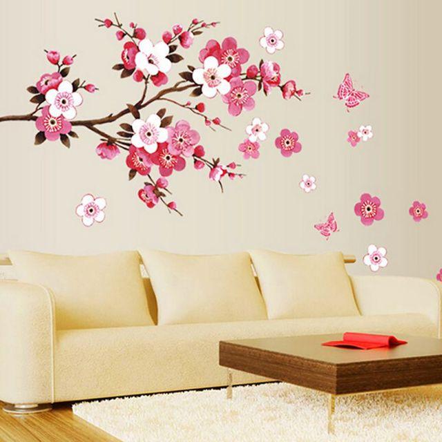 Small Sakura Flower Wall Stickers Bedroom Room Decor Pvc Arts Diy Decals Home Improvement Decorative