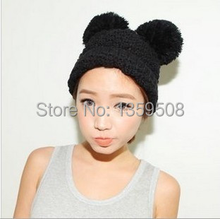 Free Shipping!2014 New 5pcs/lot Mouse Ears Cute Hats for women brand knitting warm lovely Beanies Winter knitted Cap With 2 Poms аксессуар для волос brand new 2 lot hairdisk