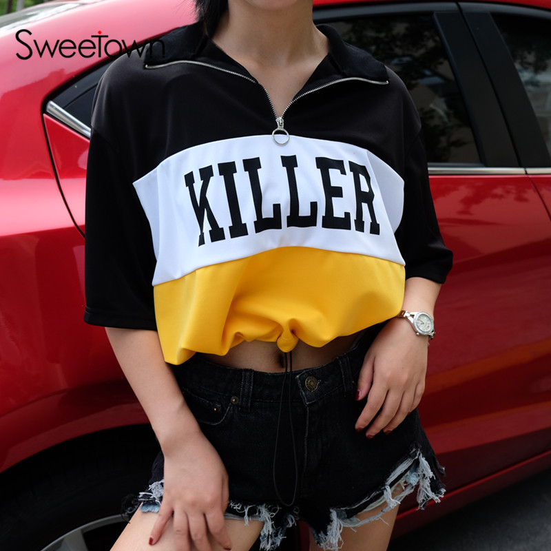Sweetown Autumn Korean Style Oversized T Shirt Casual Women Short Sleeve T-Shirts Cute Striped Printed Hippie crop Top Tshirt