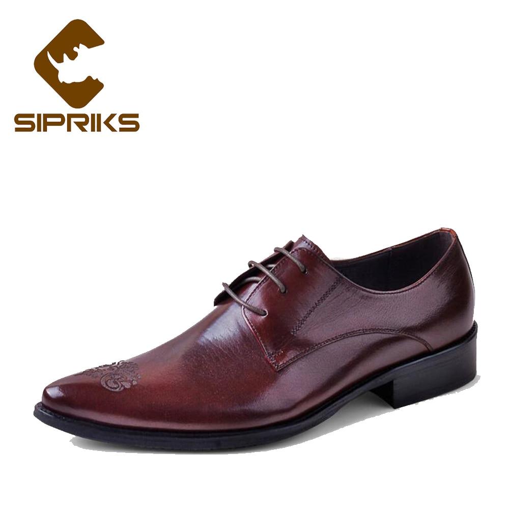 SIPRIKS luxe hommes pleine fleur en cuir chaussures tan cuir robe chaussures bout pointu derby chaussures d'affaires bureau travail appartements nouveau - 4