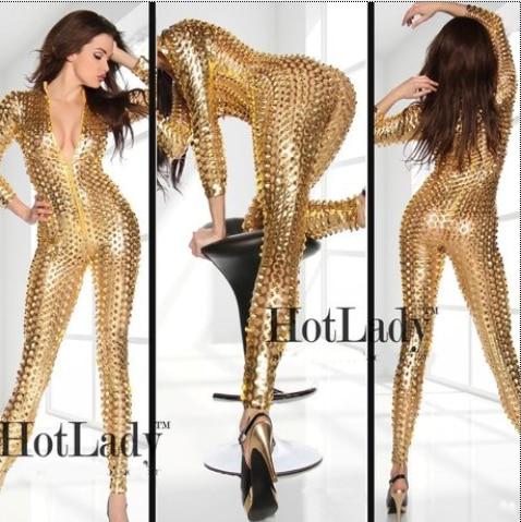 Women Black Silver Gold Sexy Hollow Singer Hip Hop Jazz Nightclub BodySuit Dance Rihanna Costume Stage Costumes For Singers