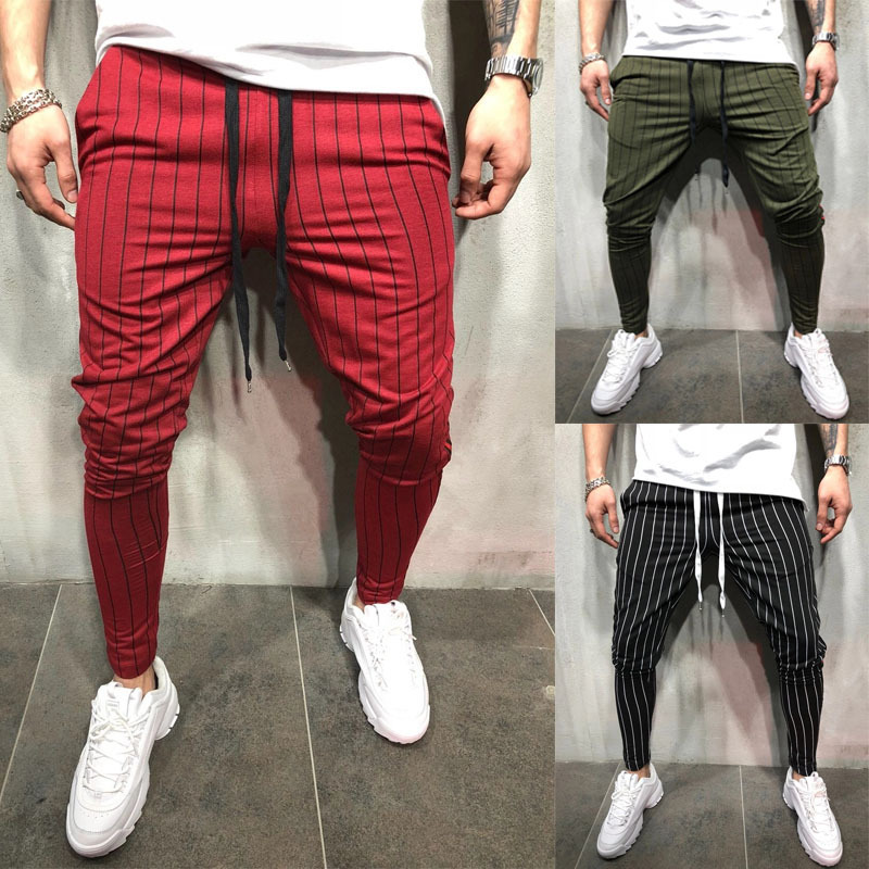 Fashion Slim Fit Striped Pants Men Black Red Striped Pants Nine Trousers Mens Joggers Pants Male Sweatpants Pantalones Hombre