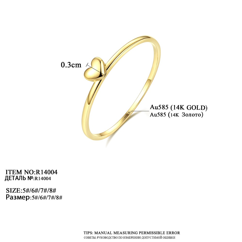 LUOTEEMI, нежное милое Золотое кольцо на палец в форме сердца для женщин, обручальные кольца для невесты, хорошее ювелирное изделие, подарок на Рождество - 3
