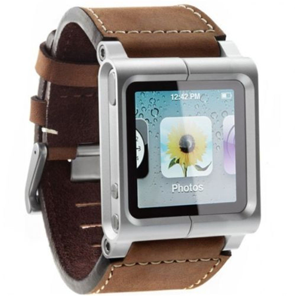 New High quality Leather Multi Touch Leather Wristband Strap Bracelets For iPod Nano 6 6th Generation