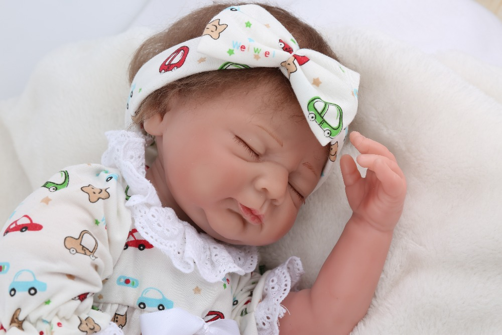 Lifelike Soft Silicone Reborn Babies 19'' Sleeping Dolls For Childern Gift Handmade Fashion Doll