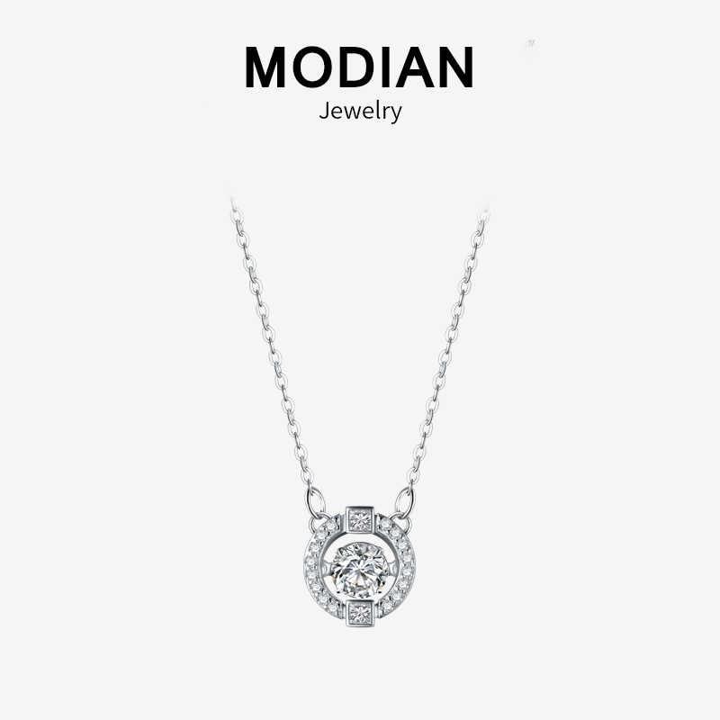 Modian Espumante Dez Corações de Luxo Real 925 Sterling Silver Limpar CZ Balançar Requintado Pingente Colares Para As Mulheres da Jóia Do Casamento