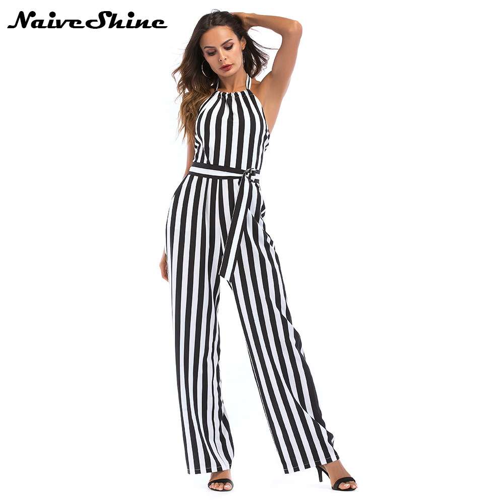 Naive Shine Elegant Jumpsuits for Women 2018 Summer Overalls Halter Backless Contrast Color Black White Striped Womens Rompers
