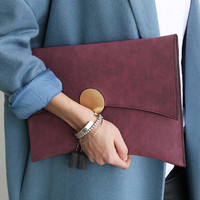 Kpop fashion women envelope clutch bag High quality PU leather Ladies evening bag chain shoulder bag Women's Totes Handbags