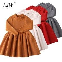 Платья для маленьких девочек; сезон осень-зима; вязаное платье принцессы с длинными рукавами; воротник в виде листка лотоса; платье с карманами; одежда для маленьких девочек