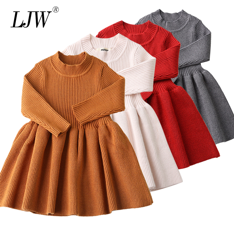 Baby Dresses For Girls Autumn Winter Long Sleeved Knit Princess Dress Lotus Leaf Collar Pocket Doll Dress Girls Baby Clothing