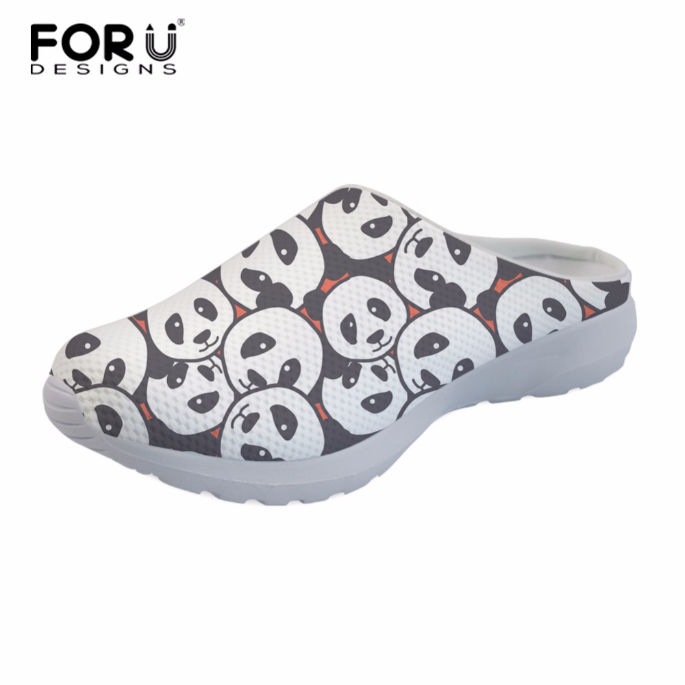 FORUDESIGNS Cute Women Slippers Cartoon Panda Pattern Summer Breathable Mesh House Woman Flat Sandals Casual Shoes