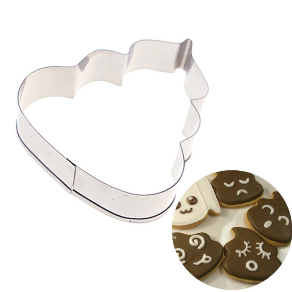 New 1Pc Poop Cookie Cutter Stainless Steel Shaped Family DIY Cake Maker Mould For Birthday Party